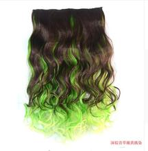 "One Piece 5Clips jeedou Wavy Synthetic Hair 20"" 50cm 100g Clip in Hair Extensions Blue Green Pink Red Ombre Piano Color"