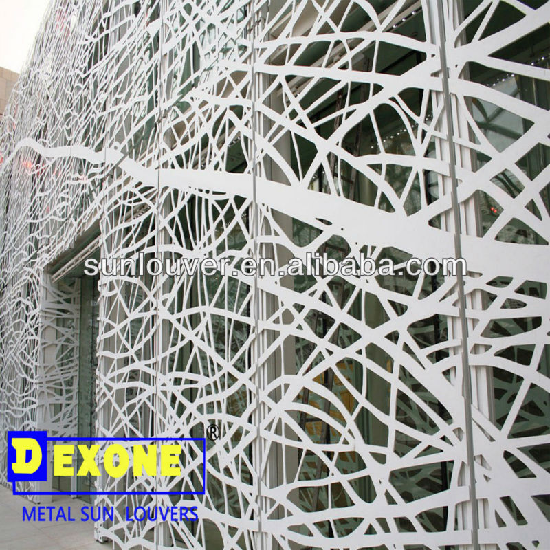 CNC decorative aluminum perforated wall panels /sun screen as curtain wall