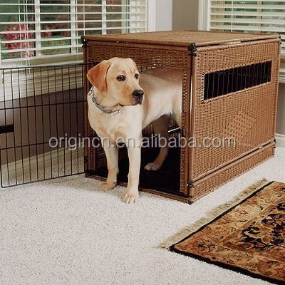 cheap airy rectangular design rattan indoor dog house with window and roof pet house