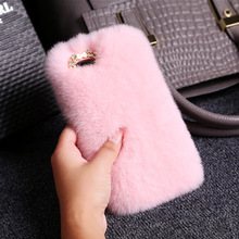 Women Winter High Quality Fluffy Fur Warmer Case Cover for iPhone X 7 7plus 6 6plus Soft Cloth Mobile Phone Case