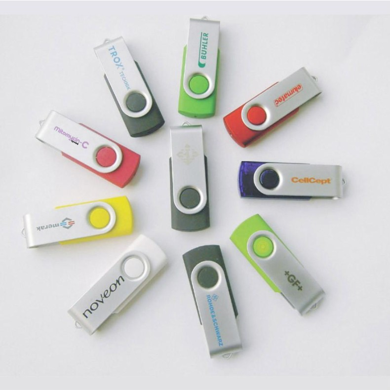 Promotion custom logo metal U disk plastic rotating clip mini USB flash drives