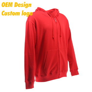 Custom Design Luxury Logo Print polyester cotton USA size custom label Red color Terry School Hoodie shirt without zip