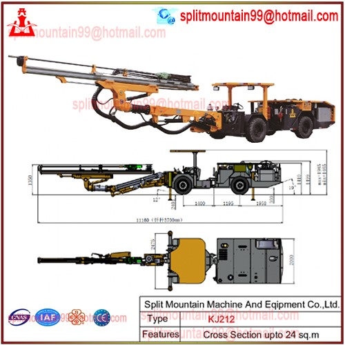 Chromite Mining low profile jumbo drilling rig telescopic feed 360 degree rotation and full automatic parallelism