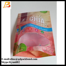 Custom stand up zip lock plastic bags for seeds packaging with clear window