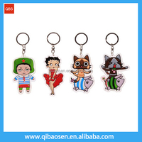 2D/3D design logo embossed PVC metal keychain, custom keychain for sales and business gifts
