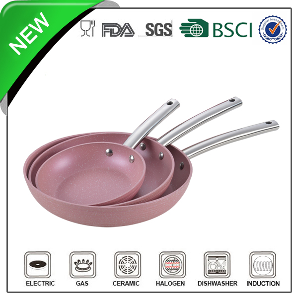 forged aluminum pink non-stick marble stone frying pan