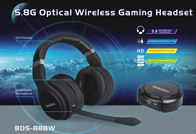 2017 new 5.8Ghz optical wireless gaming metal headset big overhead wireless headphone for PS4 PS3 Xbox 360 Xbox one with Mic