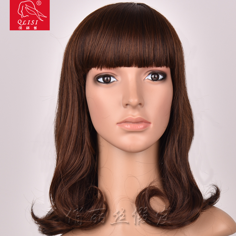 Wholesale Price Medium Long Curly Remy Hair Wig With Bob Heads