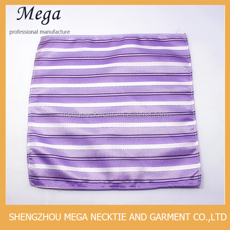 Mens 100% silk woven purple and white stripe handmade pocket square