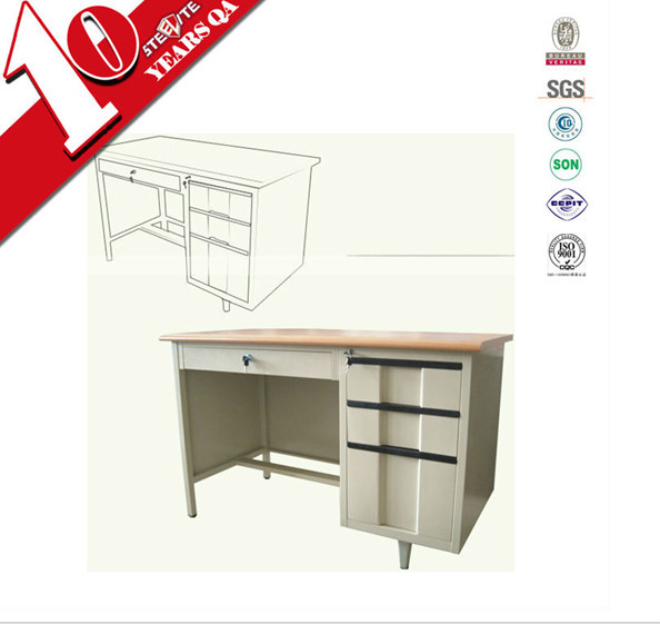 online designer furniture desk long iron wooden top computer table / steel office desk with lockable 3 drawer file cabinet