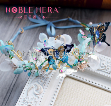 Custom Butterfly Princess Wedding Tiara With Craft Pearl
