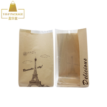 Restaurant craft stand up clear window packing toast paper bag food