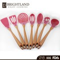Professional 7 Pieces New Wooden Handle Silicone Kitchen Cooking Utensils