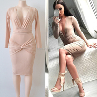 2017 Europen Style Summer Women Sexy Deep V-neck Long Dresses for Sale