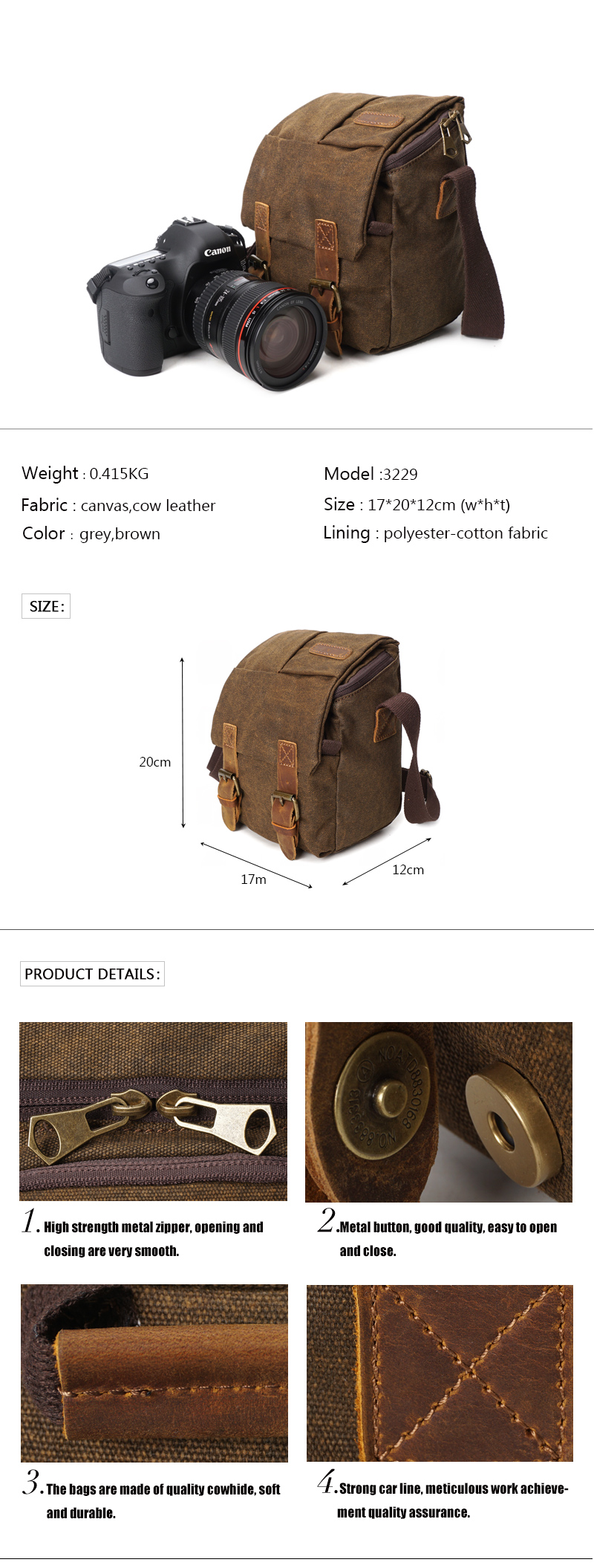 Fashion vintage outdoor durable dslr video travel waterproof leather waxed canvas small shoulder camera bags