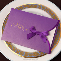 2015 High Quality charming purple invitation card for wedding