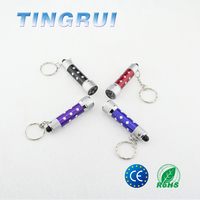 Factory Custom Made Handheld Mini Metal Material Bright Colorful Led Torch Keychain