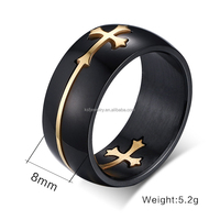 2015 Fashion Black Men Rings Stainless Steel Cross Rings Can Take Apart