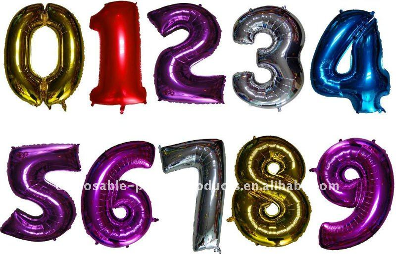 Giant Red Number Foil Balloons, 100 pcs/lot, Free Shipping