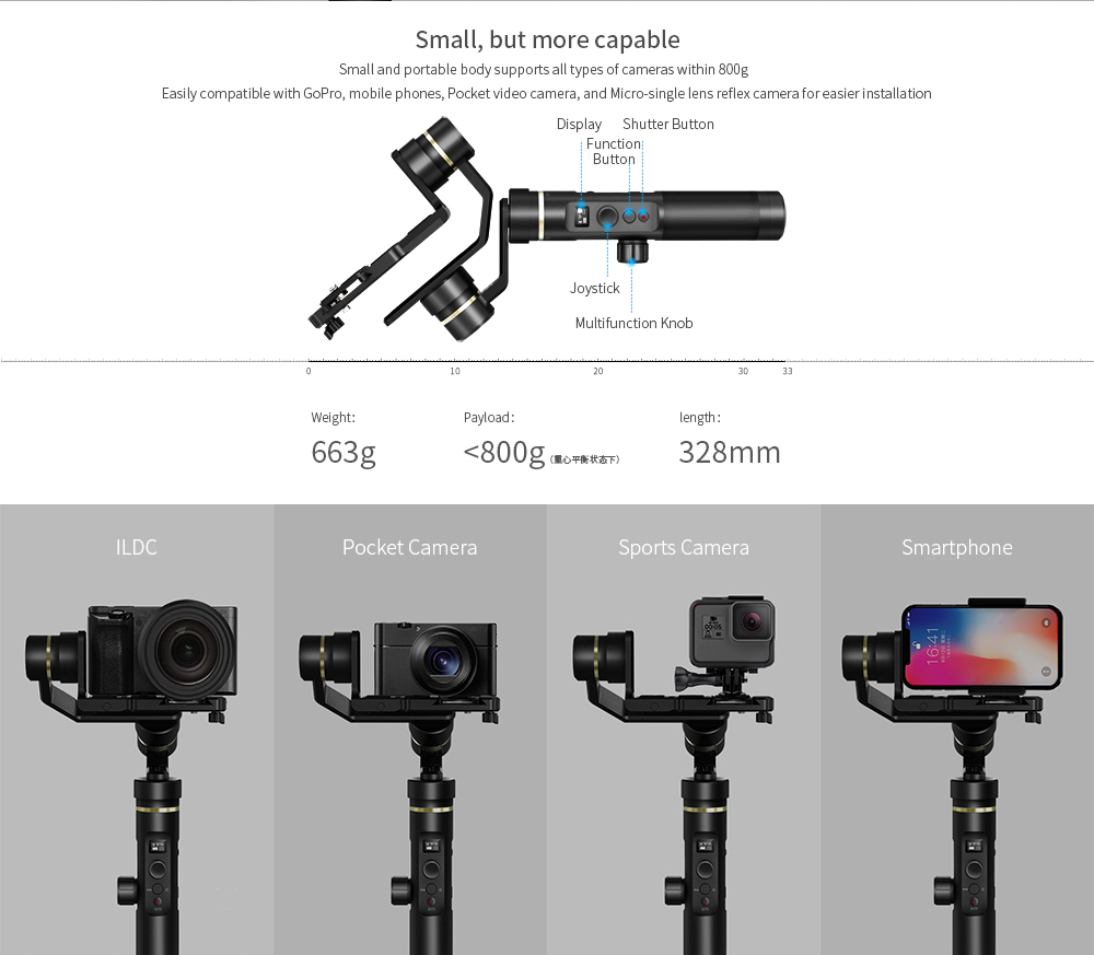 FeiyuTech stabilizer smart phone action camera G6 PLUS dslr gimbal with follow focus