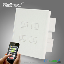 WIFI 4 Gang Switch New Design Wallpad White Crystal Glass 4 Gang 2/3 Way Wireless APP Remote WIFI Touch Control Light Switch