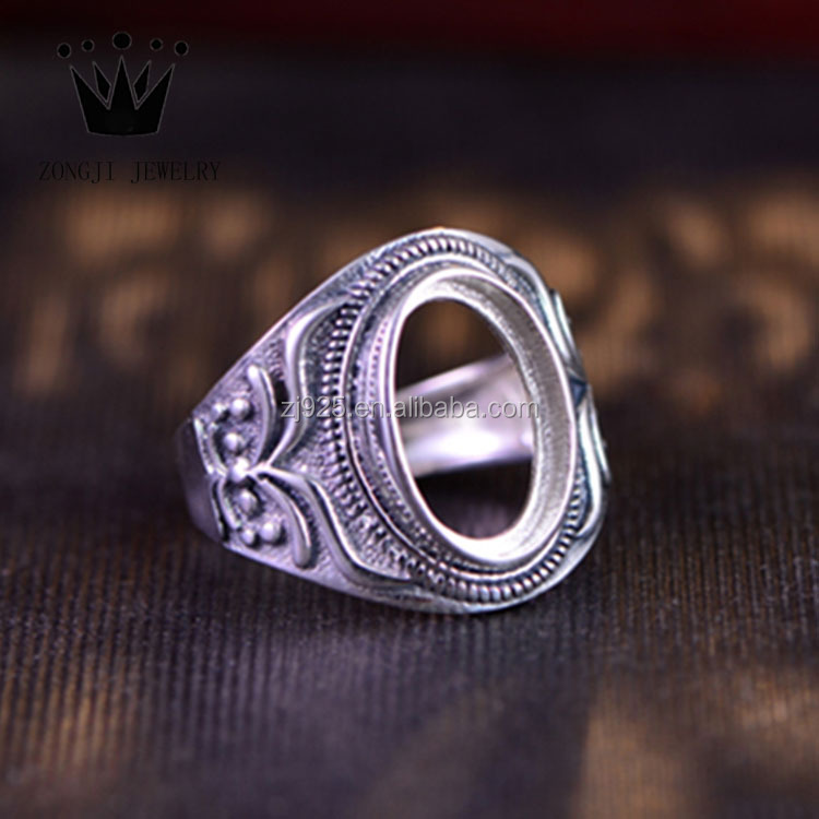 Vintage Style 925 Sterling Silver Blank Ring Setting Without Stones For Men