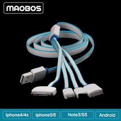Multifunction 4 in 1 Noodle USB Cable for Smartphone
