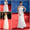 Elegant Celebrity Dresses White Floor Length A-line Halter Neck 2010 Flowing Chiffon Evening Dresses Simple