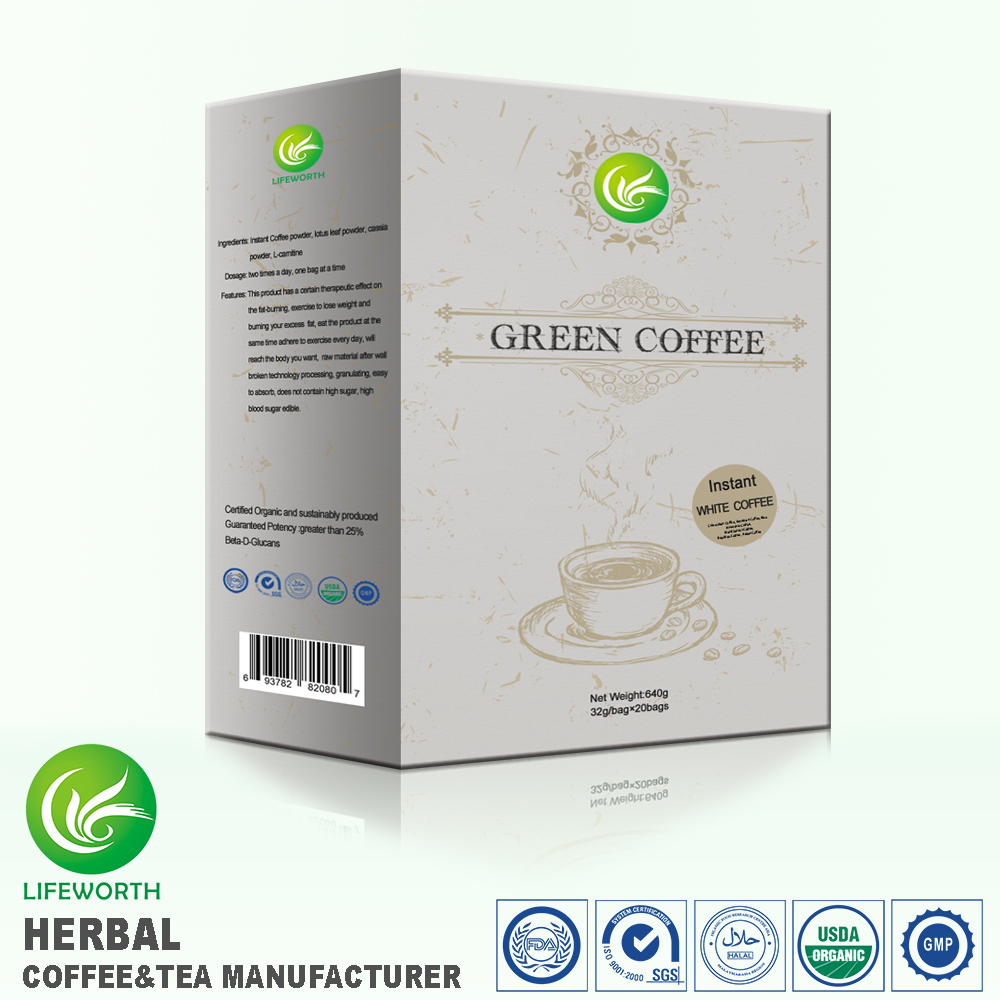 Lifeworth newest natural plant extracted mellow white coffee free design and sample