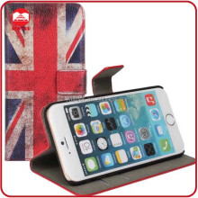 China Manufacturer Wholesale High Quality Retro UK USA Flag Printing Leather Stand Wallet Case for Iphone 6