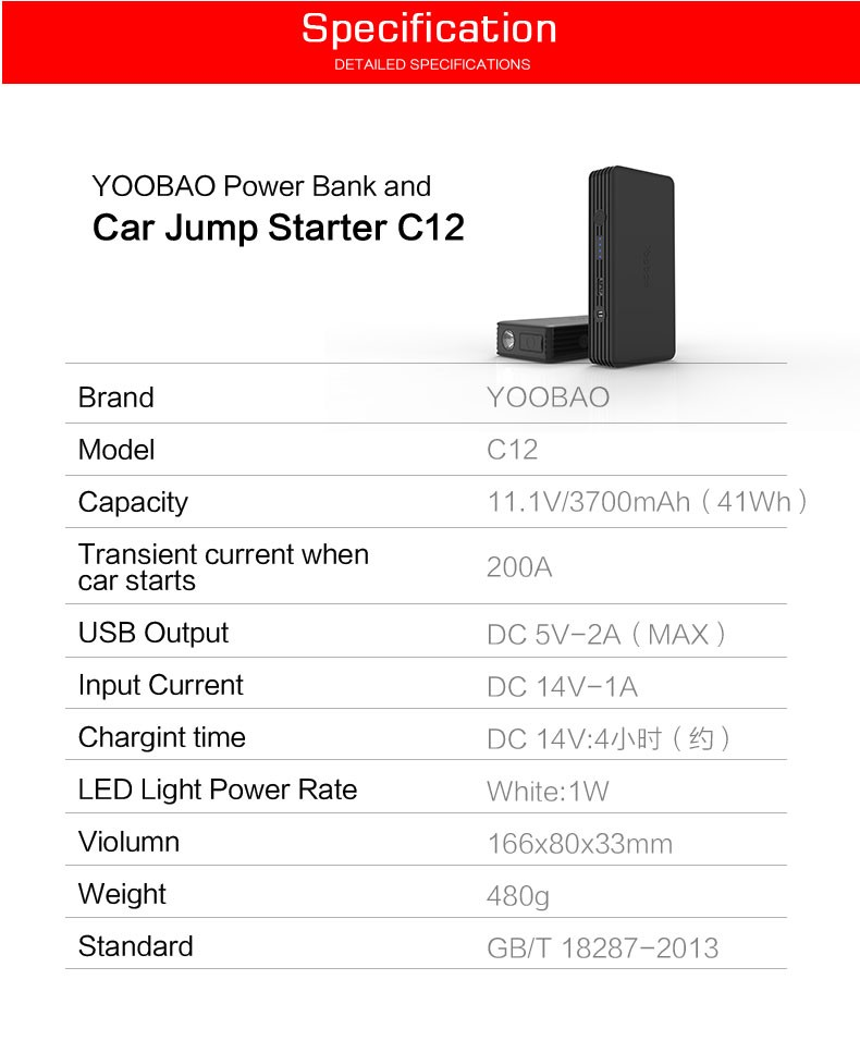 YOOBAO Super High Quality Car Jumper Starter Portable Charger Powerbank 11200mAh for Auto and Electronics