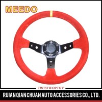 Brand leather 350mm 90mm dish steering wheel,14inch leather steering wheel