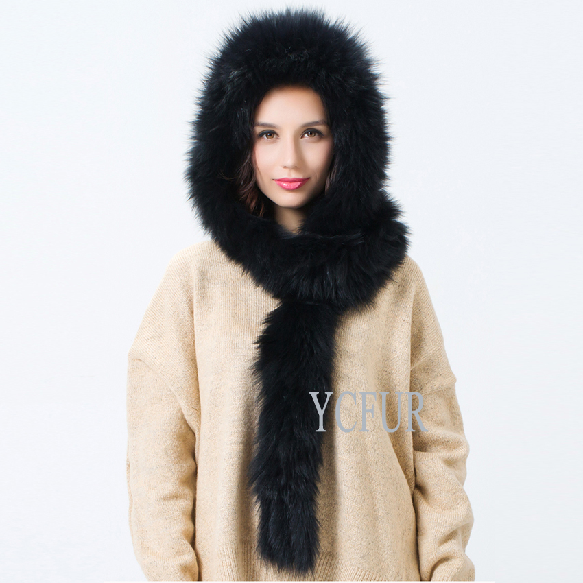 2015 New Luxury Women Fur Hats 2 Colors Knitted Fox Fur Hat With Long Fur Scarf Tassels Knitted Fur Caps Winter YH112