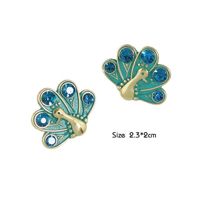 Free Shipping Rhinestone Peacock Shape Women Stud Earrings