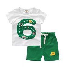 Hot selling new design children clothing sets pure cotton anti pilling baby boys stripe 2 pcs suits