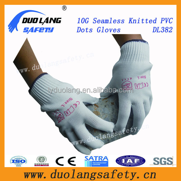 PVC dotted multi color knitted gloves with protective hand