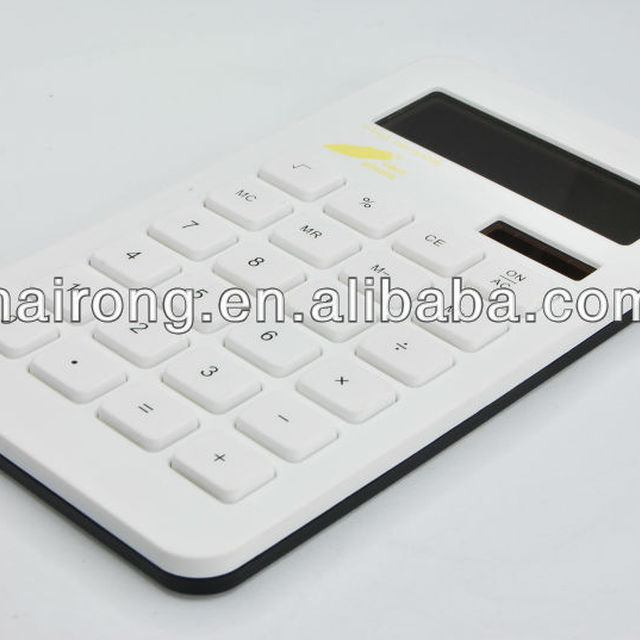 Corn plastic 10 digits dual power calculator with logo printing area for gifts and promotional business