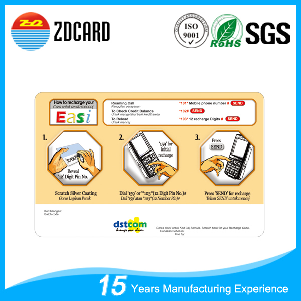 New style scratch pvc calling card