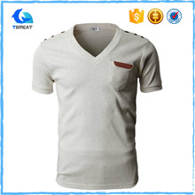 Stylish Custom Plain Men Softex Cotton V-Neck T-Shirts