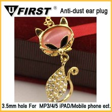 New Arrival 3.5 mm Dustproof Plug For Cell Phone Headphone Dust Plug Rhinestone Fox Earphone Jack Plug