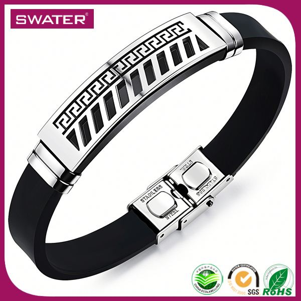 New Invention 2016 Silver Charm Braided Rubber Bracelets