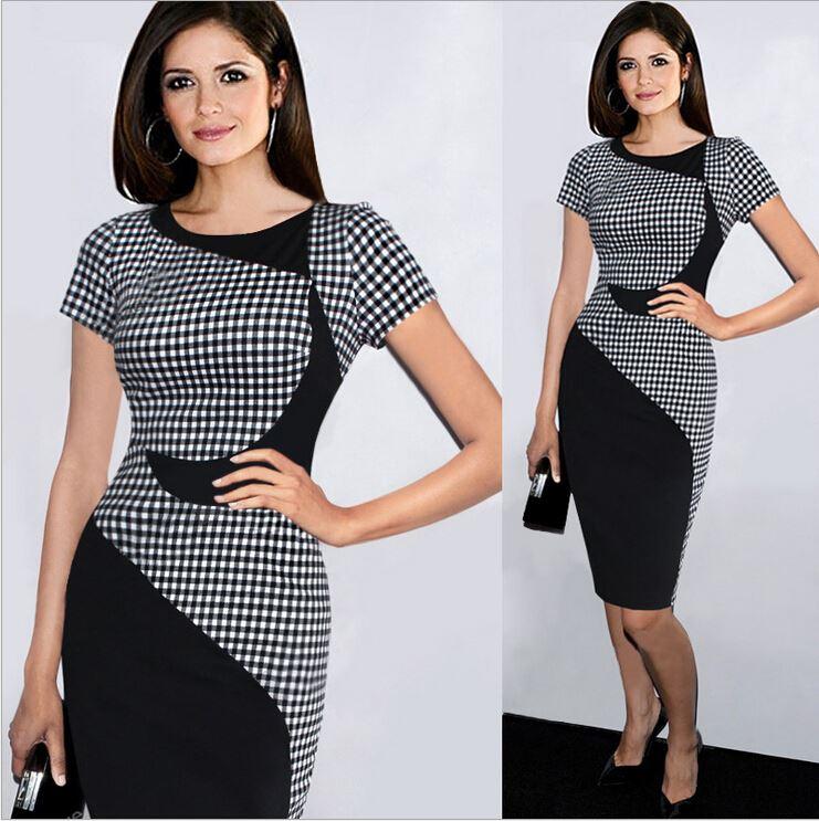 2017 New Fashion Vestido Patchwork Cute Girl Plaid Pencil Bodycon Ladies Office Wear Summer <strong>Dress</strong> Women Casual <strong>Dresses</strong> Plus size