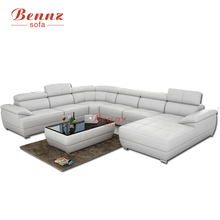 BAOCHI White Commerical Leather Sectional Sofa
