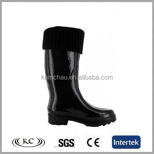 hotsale europe cotton pure black custom made wellington boots