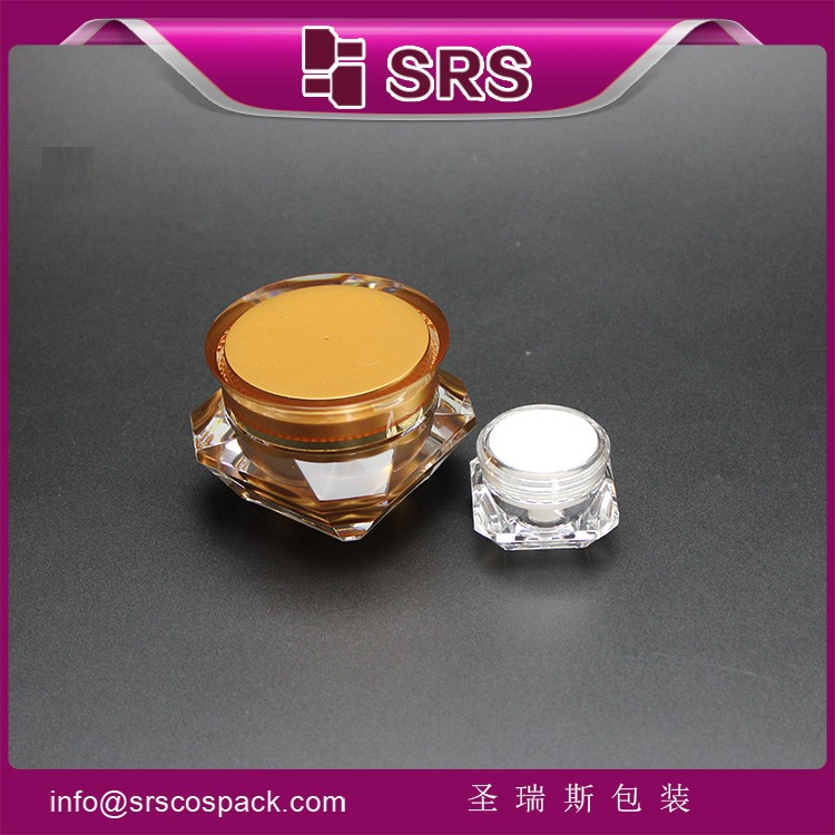 Luxury Acrylic Unique Diamond Design Cosmetic Jar Plastic 15g 30g 50g