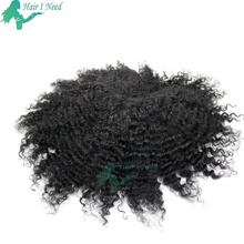 Men's Toupee for Black Men African American 8x10inch All PU Base Wig 10mm Curly invisible toupee 100% Human Hair
