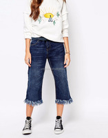 High Quality Summer Fashion Frayed Hem Cropped Jeans Non Stretch Denim Jeans High Waist Ladies Jeans
