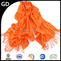 GDKK0027 Plain style solid color warm pashmia neck scarf with tassels