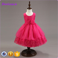 modern fashion kids wear pleated round neck girls party dress tutu skirt embroidered trim occasion dress