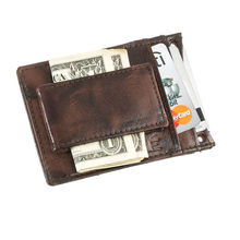 Men Continental Front Pocket Leather Wallet Money Clip
